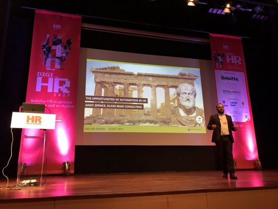 Andrew Spence delivering keynote speech at Digi HR in Athens 2017