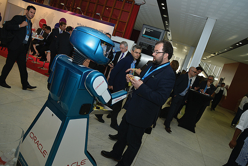 Andy Spence discusses Future of HR with a Robot at HR Tech Europe 2013